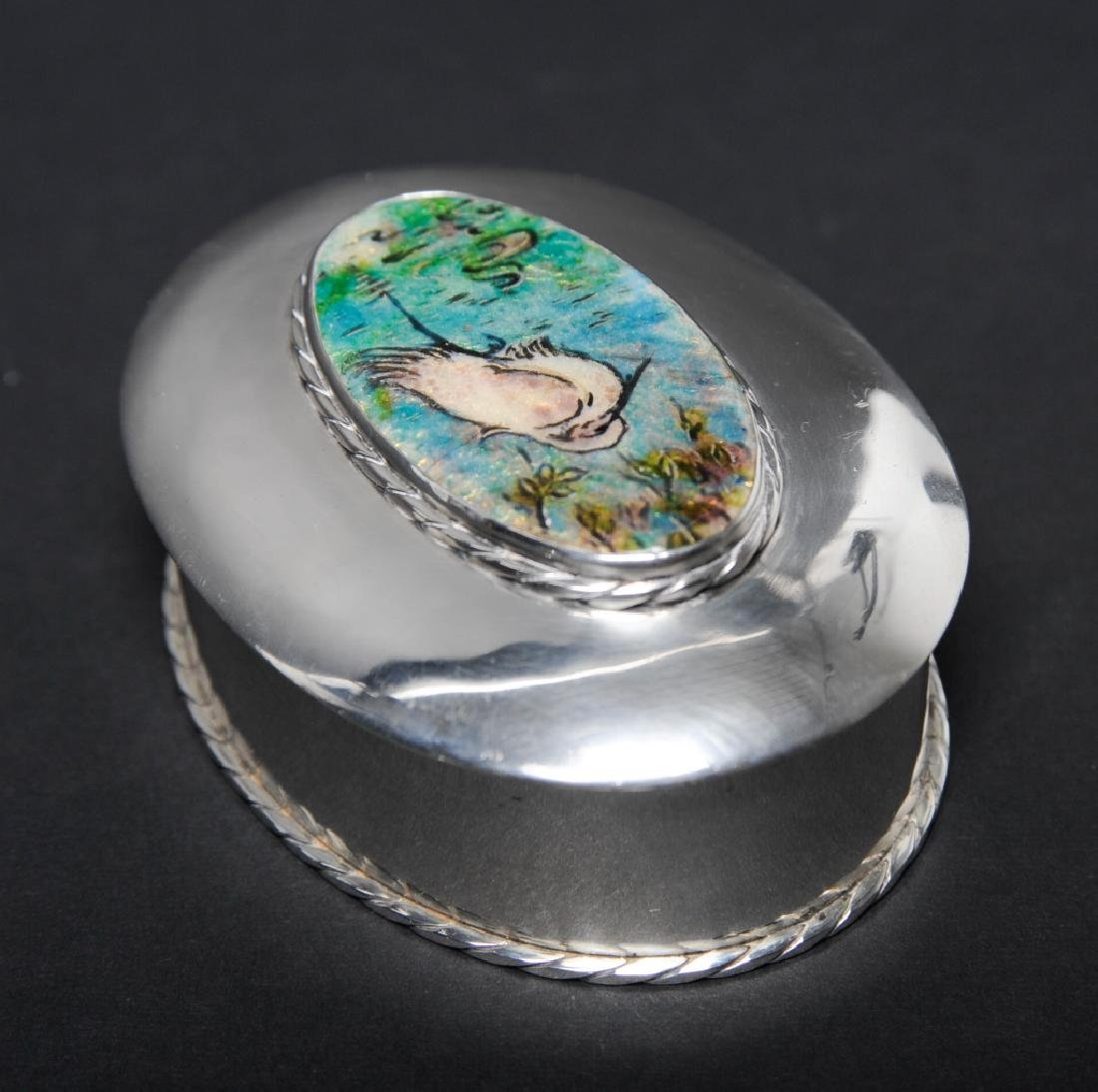 "Sterling Silver Egret Enameled Pill Trinket Box 3"" - 5"