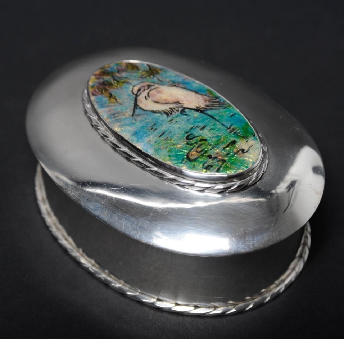 "Sterling Silver Egret Enameled Pill Trinket Box 3"" - 6"