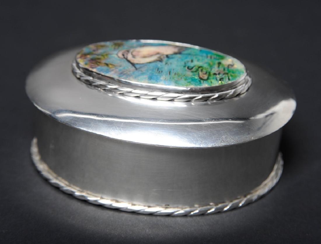 "Sterling Silver Egret Enameled Pill Trinket Box 3"" - 7"