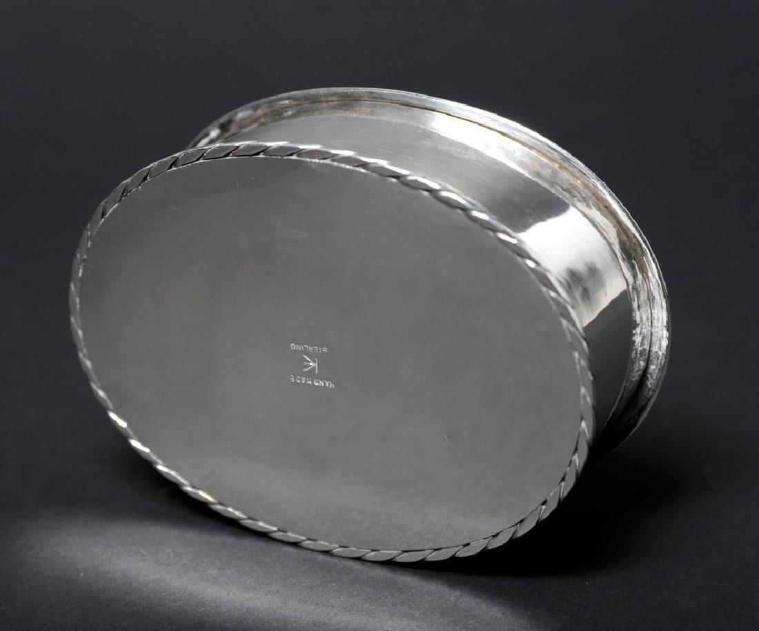 "Sterling Silver Egret Enameled Pill Trinket Box 3"" - 8"