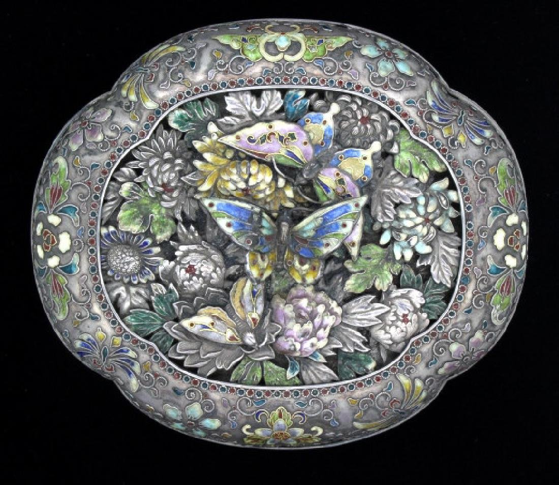 FINE Japanese Sterling Silver Enamel Butterfly Box