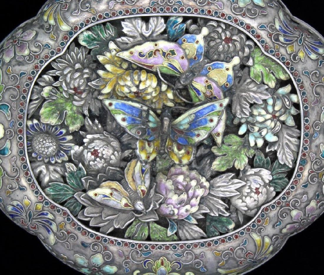 FINE Japanese Sterling Silver Enamel Butterfly Box - 2