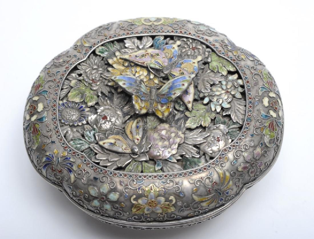 FINE Japanese Sterling Silver Enamel Butterfly Box - 3