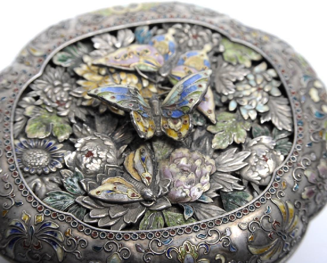 FINE Japanese Sterling Silver Enamel Butterfly Box - 4