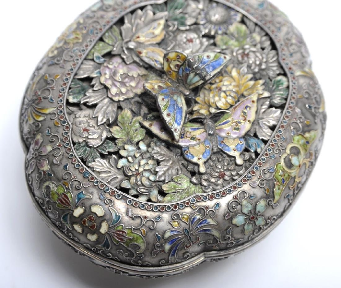 FINE Japanese Sterling Silver Enamel Butterfly Box - 5