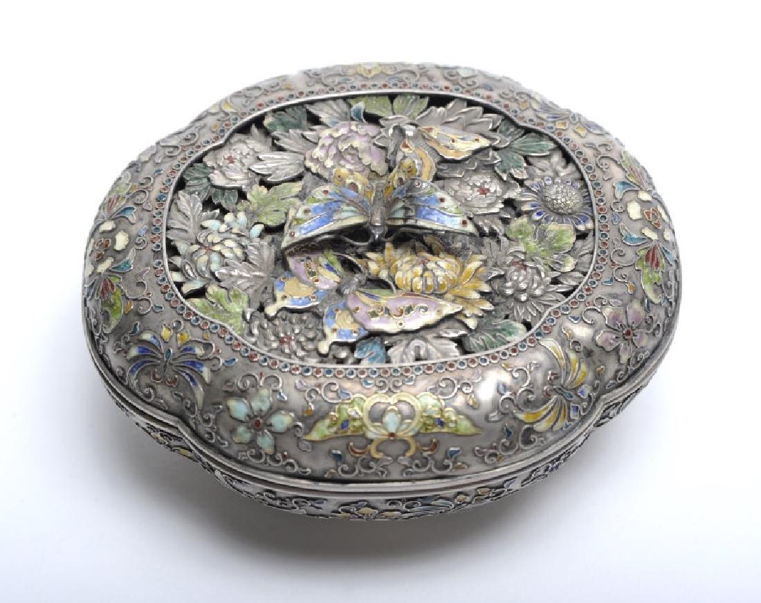 FINE Japanese Sterling Silver Enamel Butterfly Box - 6