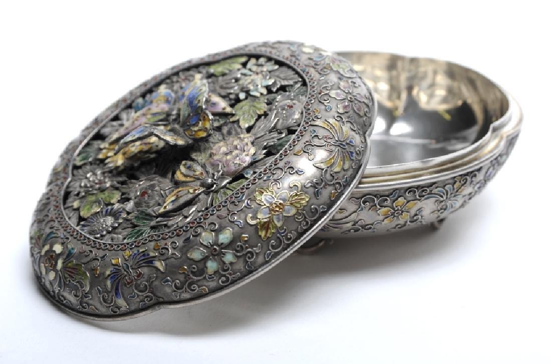 FINE Japanese Sterling Silver Enamel Butterfly Box - 7
