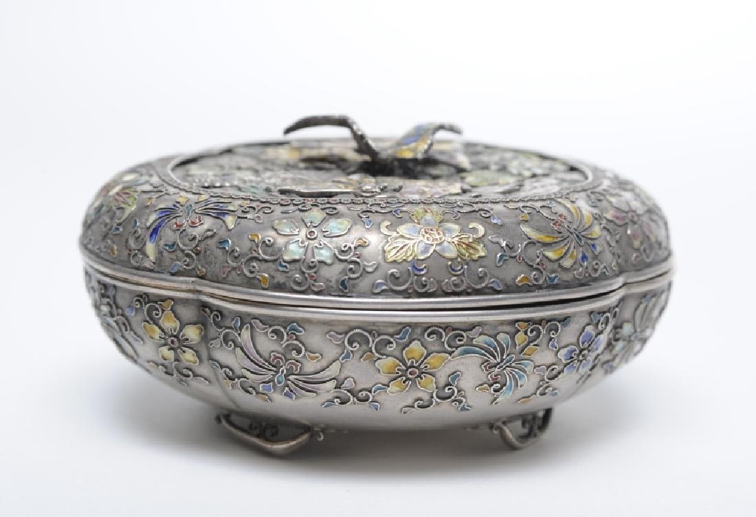 FINE Japanese Sterling Silver Enamel Butterfly Box - 8