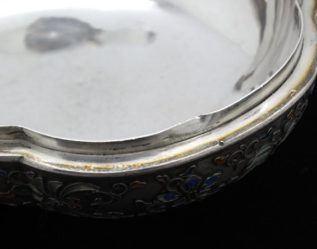 FINE Japanese Sterling Silver Enamel Butterfly Box - 9