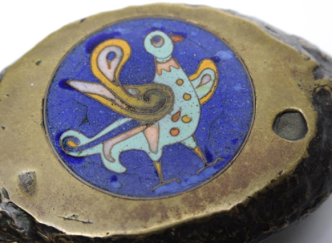 Russian Enamel Bronze Lidded Bird Box Circa 1940 - 3