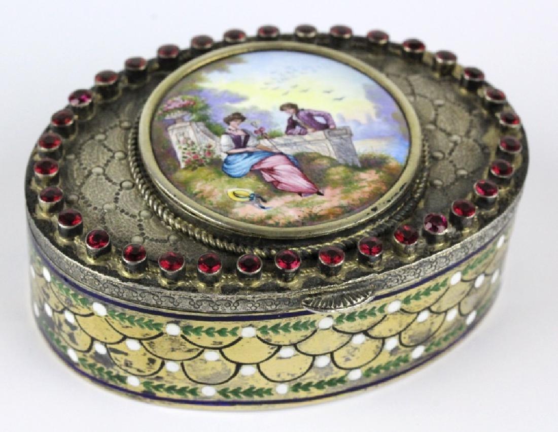VTG Austrian Silver Enamel & Porcelain Snuff Box