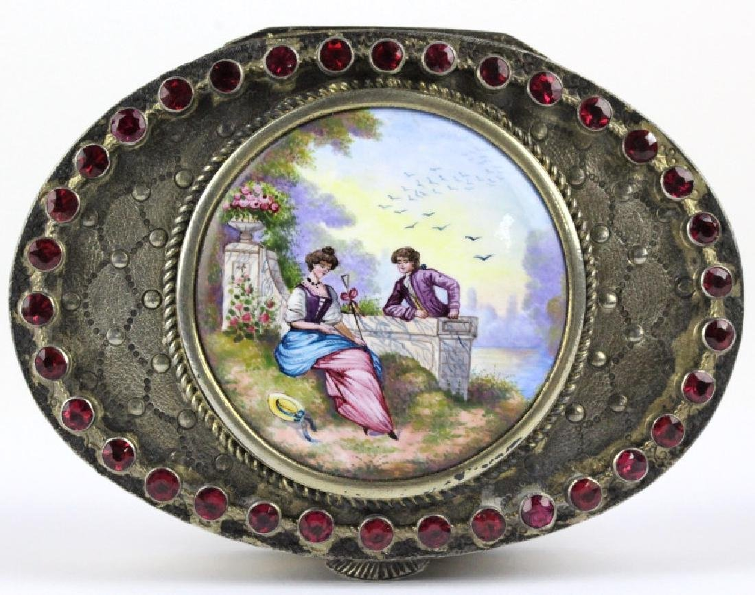 VTG Austrian Silver Enamel & Porcelain Snuff Box - 2