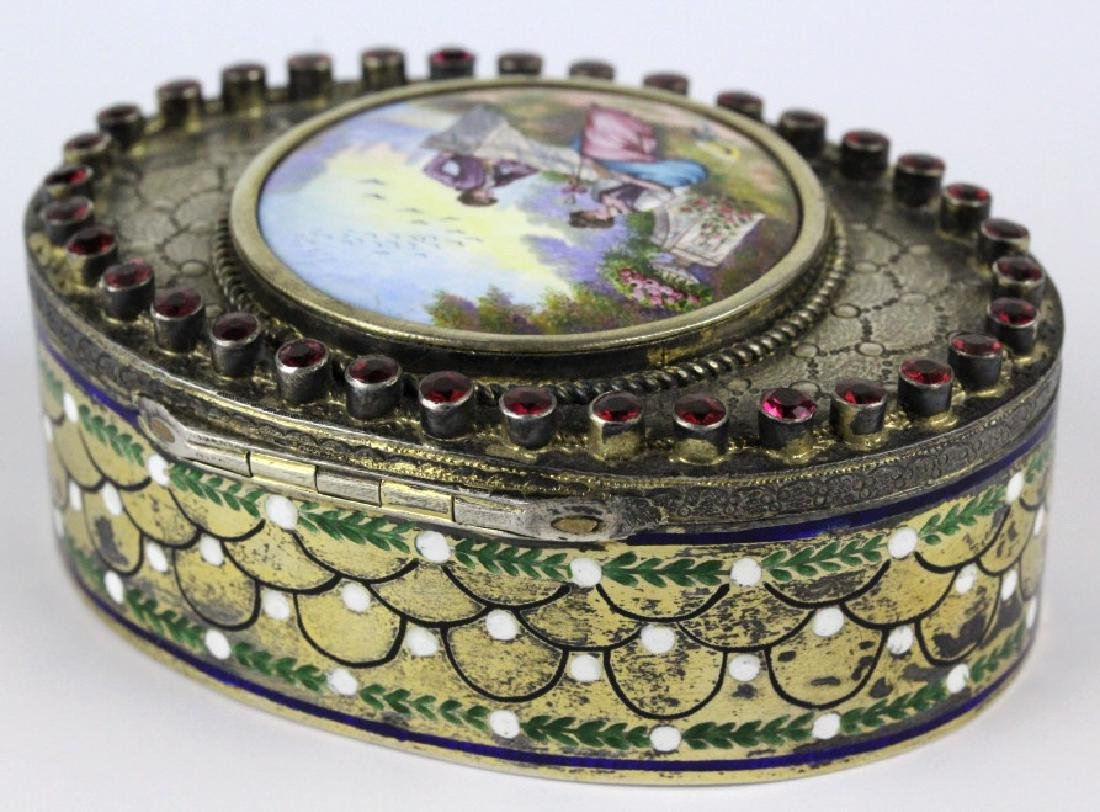 VTG Austrian Silver Enamel & Porcelain Snuff Box - 4