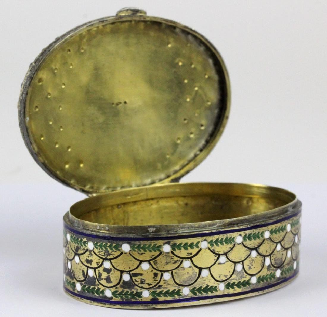 VTG Austrian Silver Enamel & Porcelain Snuff Box - 5