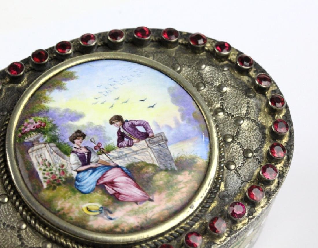 VTG Austrian Silver Enamel & Porcelain Snuff Box - 7