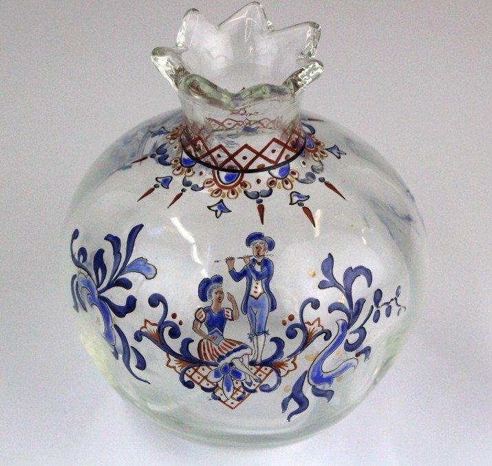 Galle French Art Glass Enameled Figure Vase - 8