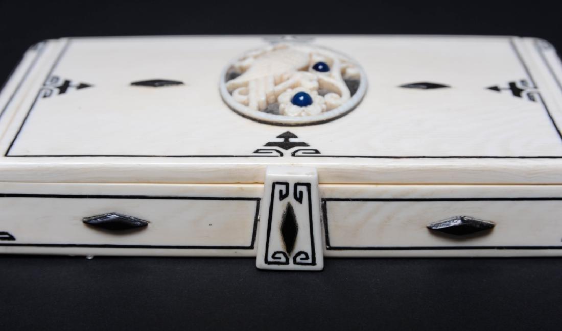 Antique CARTIER Inlaid Kingfisher Necessaire RARE - 9