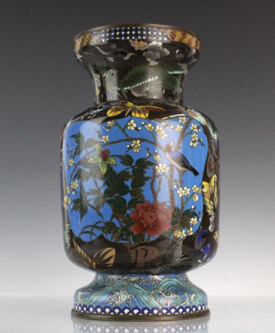 Japanese Cloisonne Enamel Butterfly Insect Vase