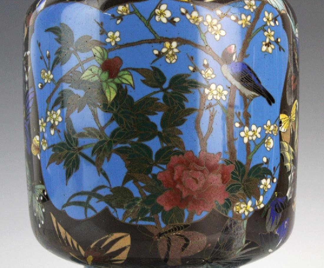 Japanese Cloisonne Enamel Butterfly Insect Vase - 2