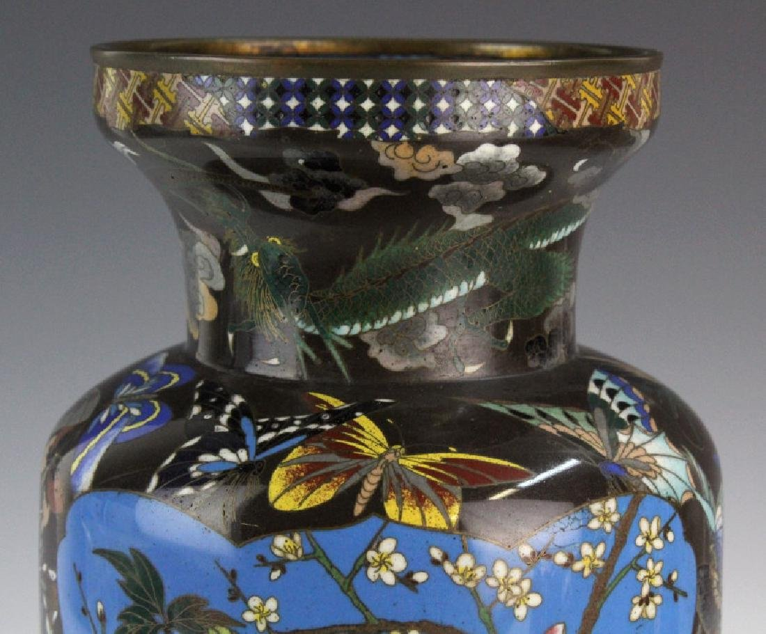 Japanese Cloisonne Enamel Butterfly Insect Vase - 3
