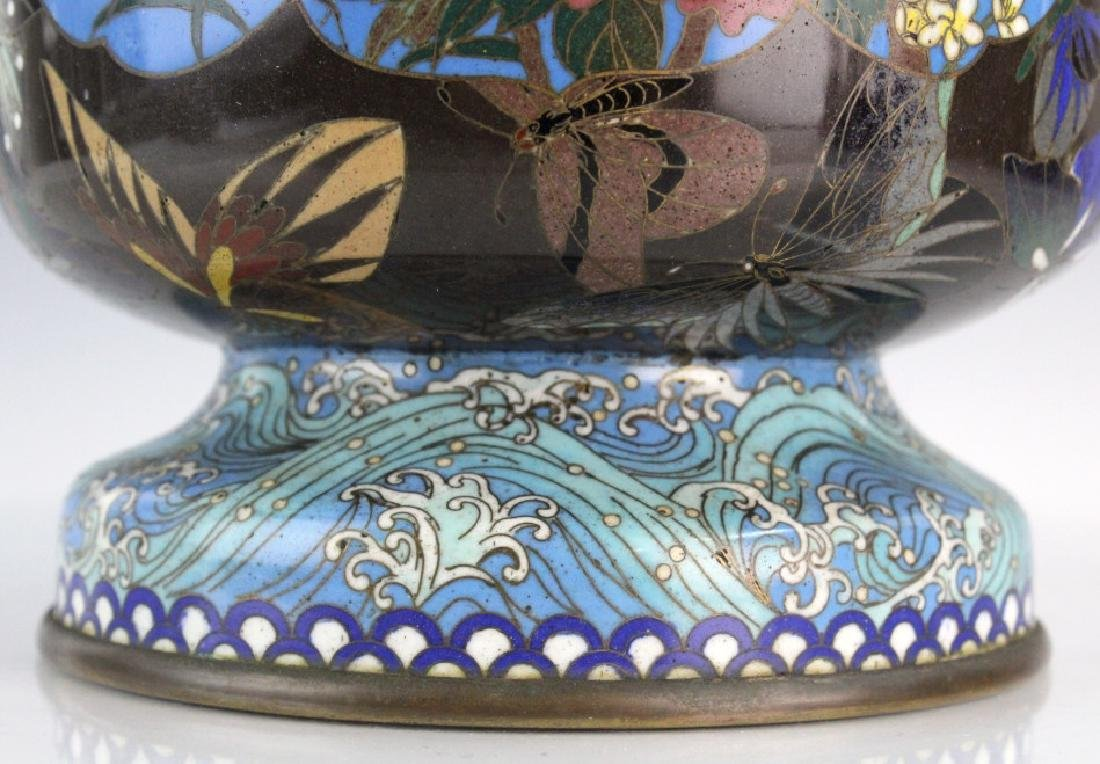 Japanese Cloisonne Enamel Butterfly Insect Vase - 5