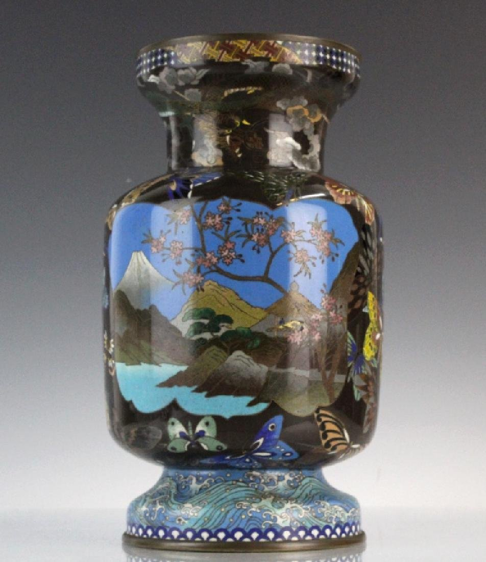 Japanese Cloisonne Enamel Butterfly Insect Vase - 7