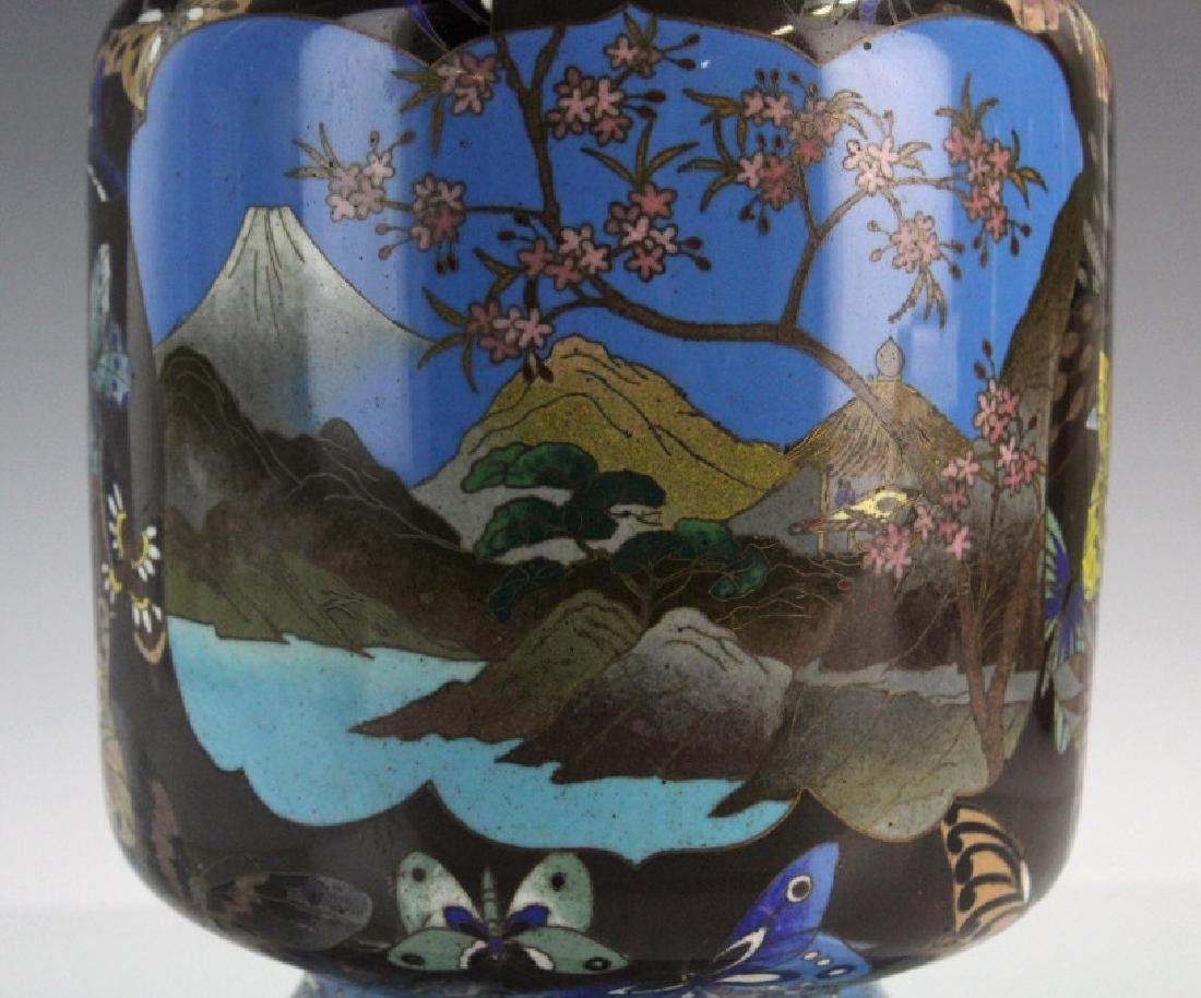 Japanese Cloisonne Enamel Butterfly Insect Vase - 9