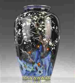 Japanese Ando Cloisonne Silver Cherry Blossom Vase