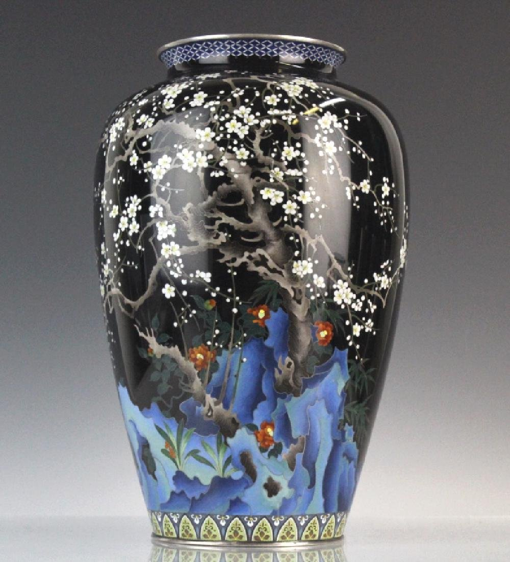 Japanese Ando Cloisonne Silver Cherry Blossom Vase