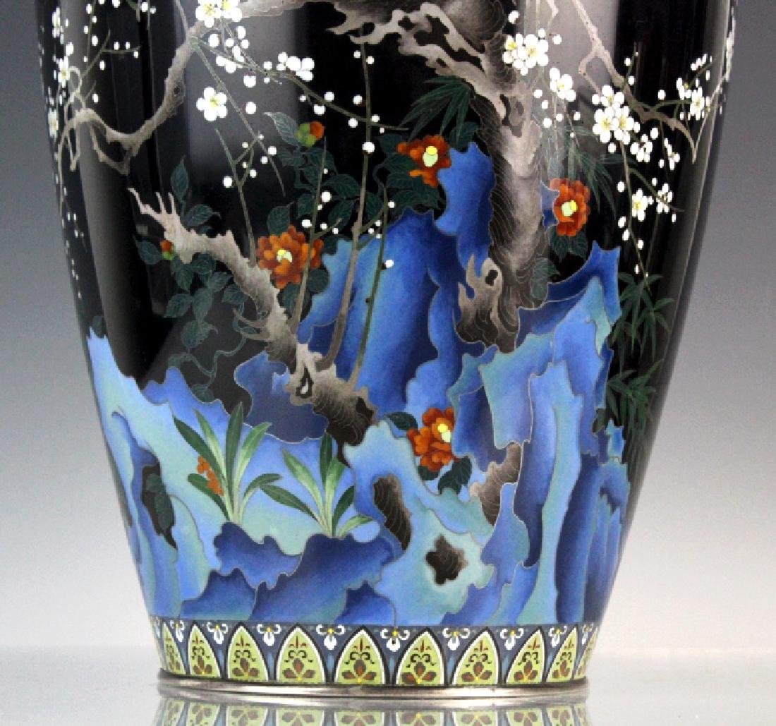 Japanese Ando Cloisonne Silver Cherry Blossom Vase - 2