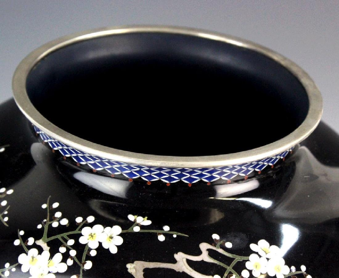 Japanese Ando Cloisonne Silver Cherry Blossom Vase - 4