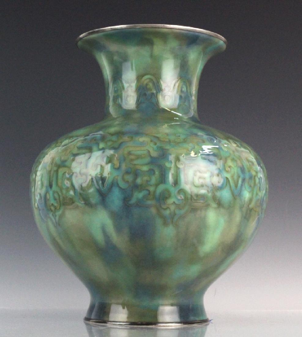 Large Japanese Cloisonne Green Vase by Ando Jubei