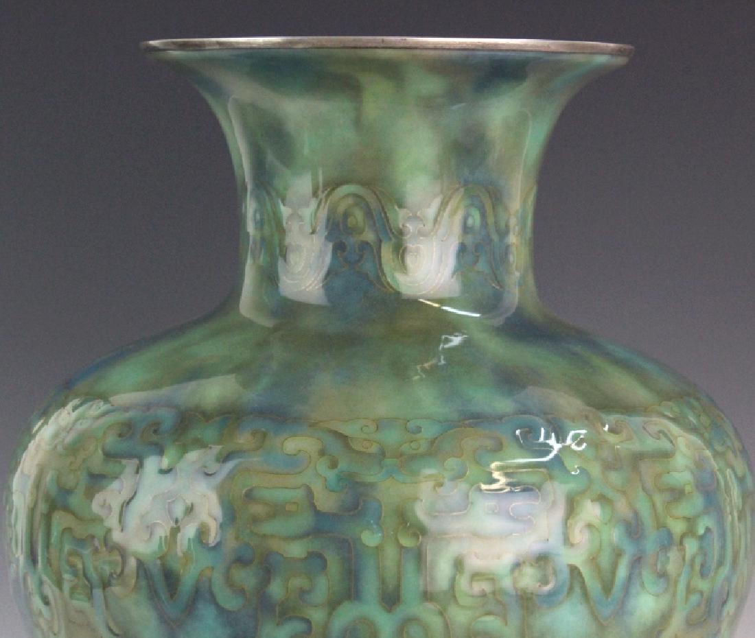 Large Japanese Cloisonne Green Vase by Ando Jubei - 2