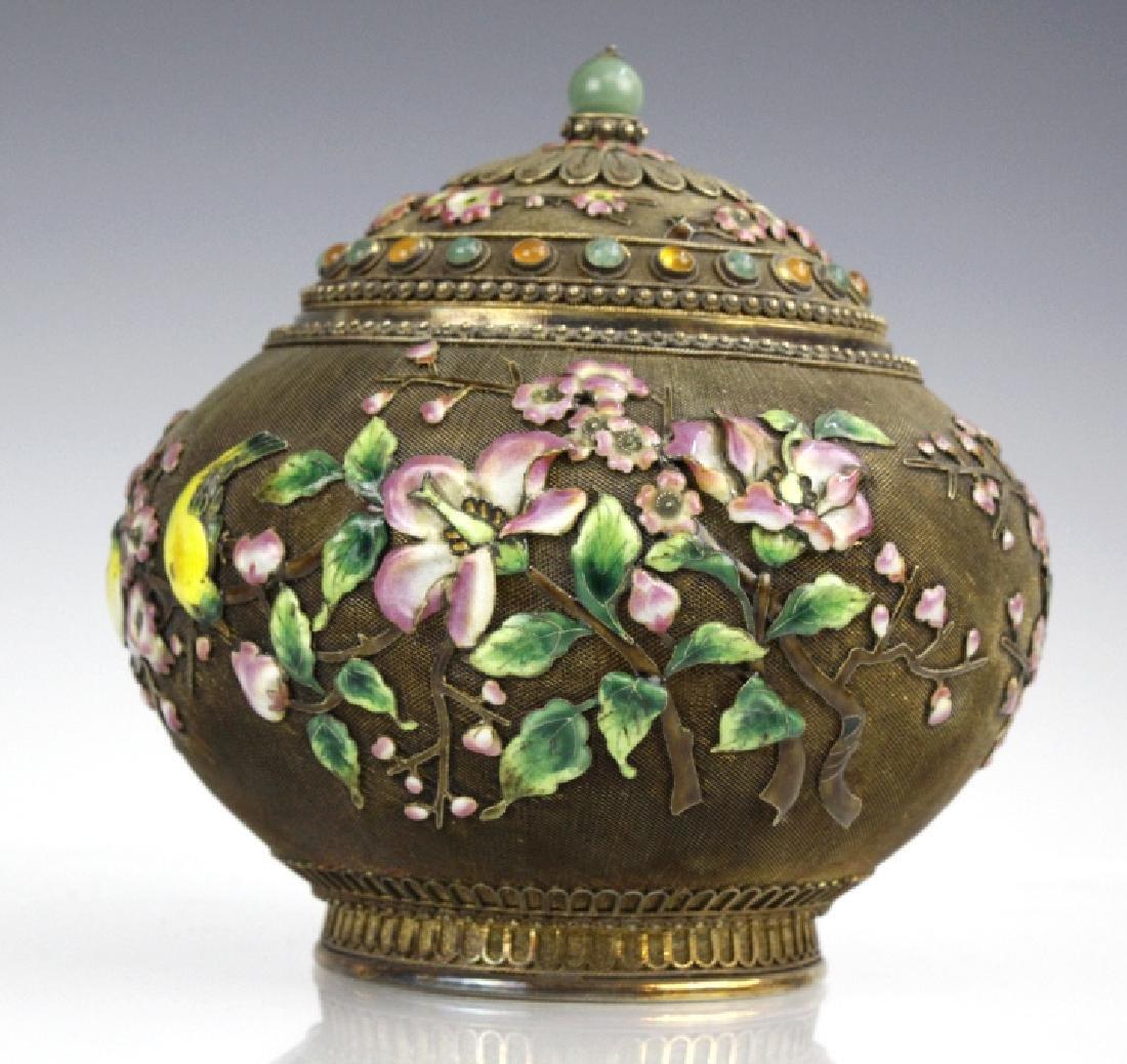 Chinese Silver Gilt Filigree Enamel Lidded Jar Box