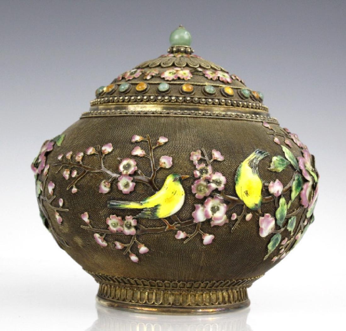 Chinese Silver Gilt Filigree Enamel Lidded Jar Box - 3