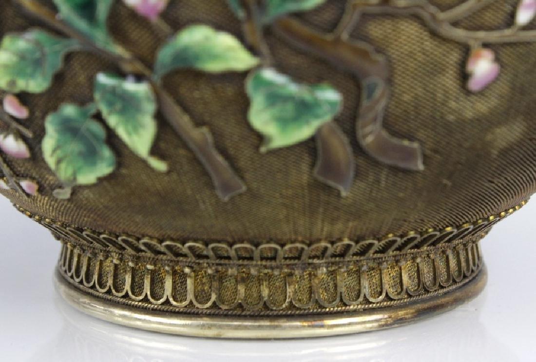 Chinese Silver Gilt Filigree Enamel Lidded Jar Box - 5