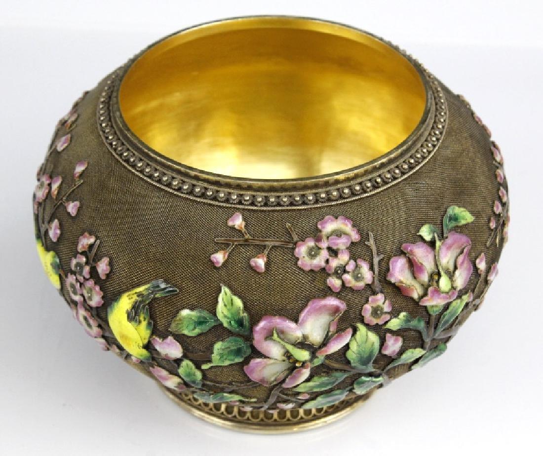 Chinese Silver Gilt Filigree Enamel Lidded Jar Box - 7