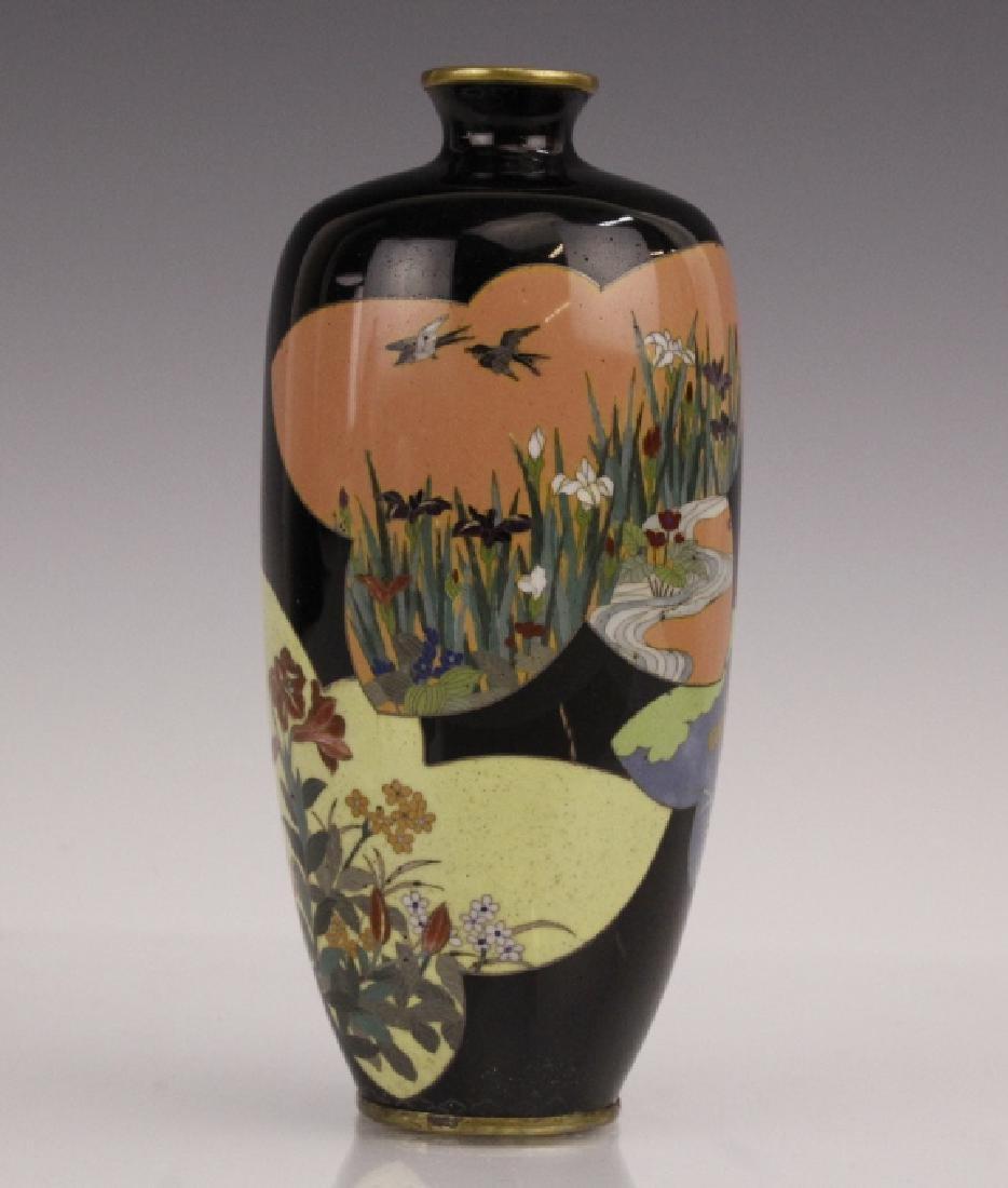 Antique Japanese Floral Cloisonne Enamel Bud Vase