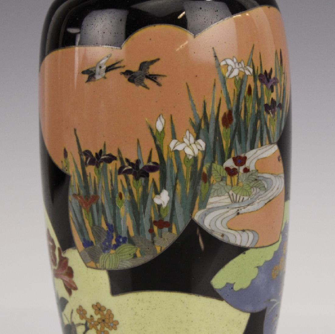 Antique Japanese Floral Cloisonne Enamel Bud Vase - 2