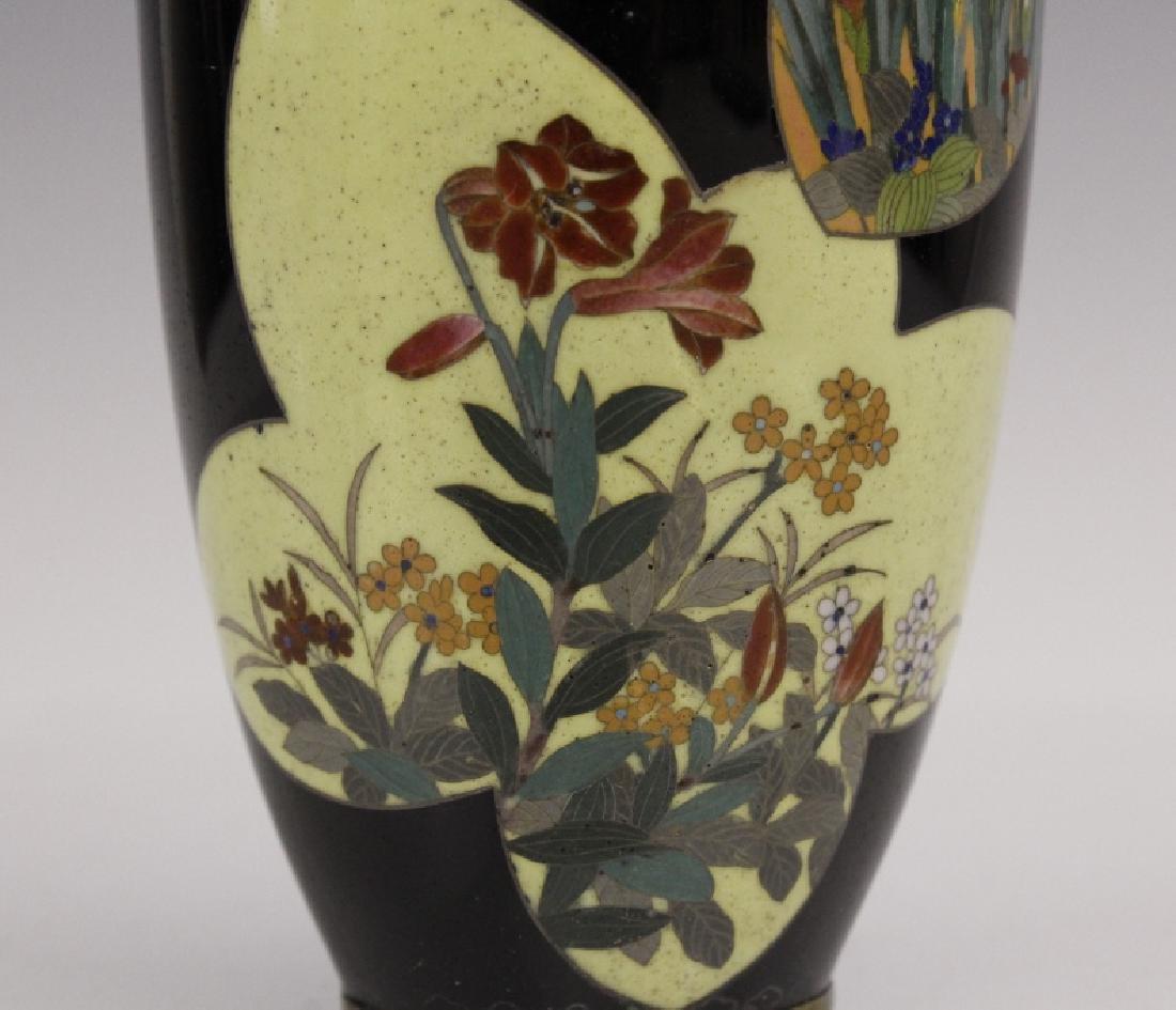Antique Japanese Floral Cloisonne Enamel Bud Vase - 3