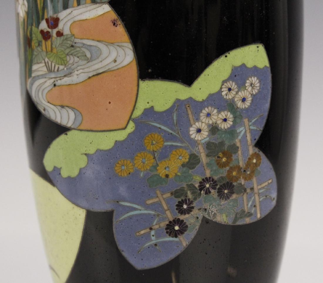 Antique Japanese Floral Cloisonne Enamel Bud Vase - 4