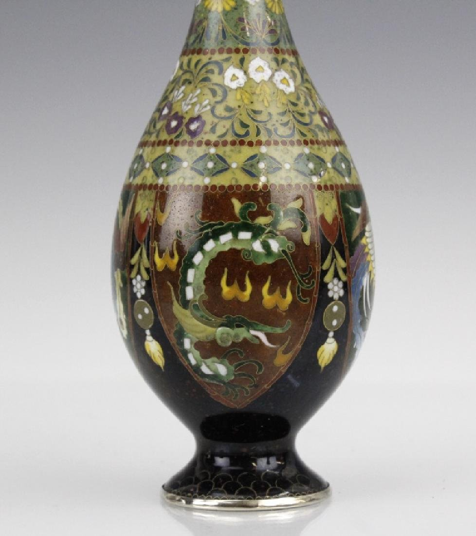 FINE Japanese Cloisonne Dragon Enamel Bud Vase - 2