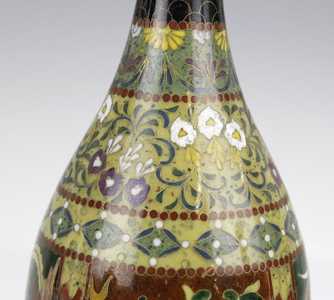 FINE Japanese Cloisonne Dragon Enamel Bud Vase - 3