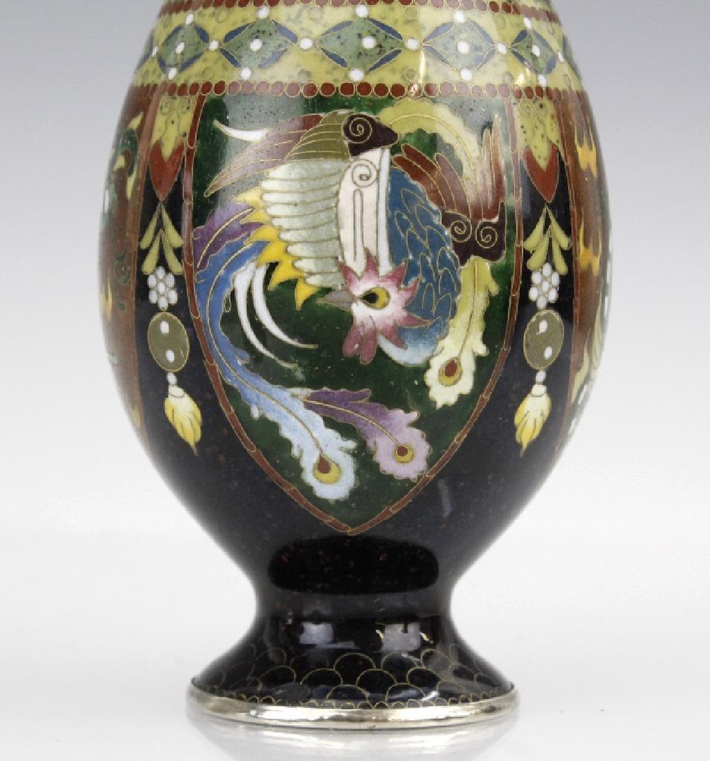FINE Japanese Cloisonne Dragon Enamel Bud Vase - 4
