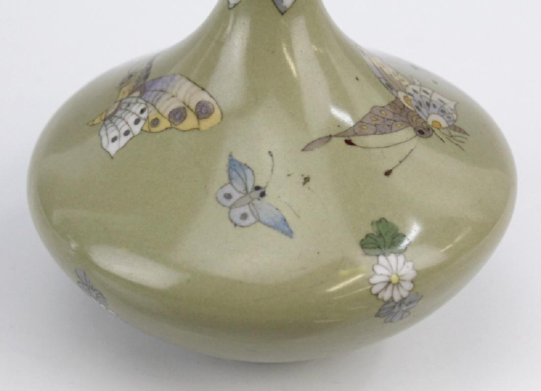 Meiji Japanese Enamel Cloisonne Butterfly Bud Vase - 6