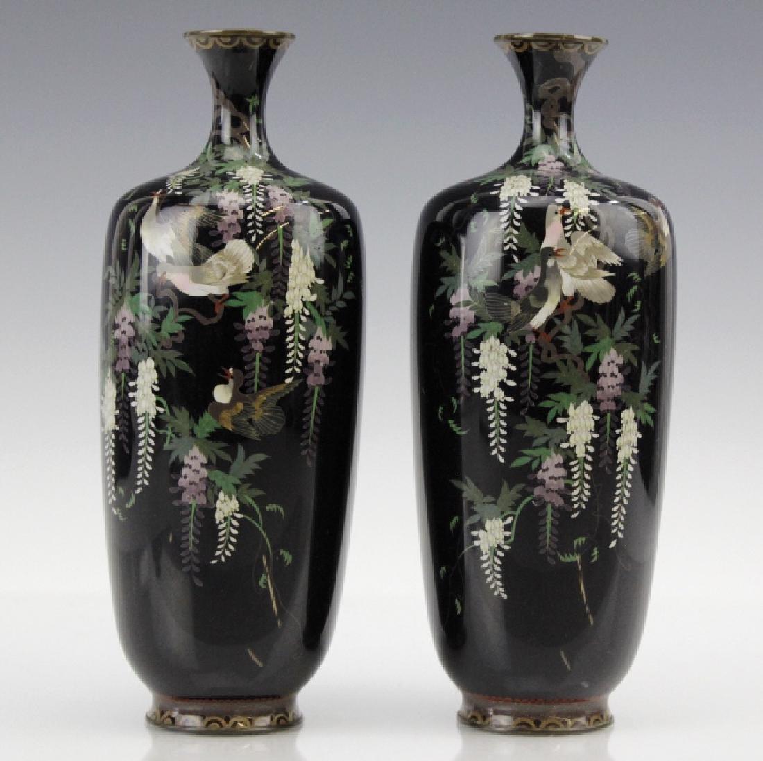 PAIR of Japanese Cloisonne Enamel Vase FINE - 10