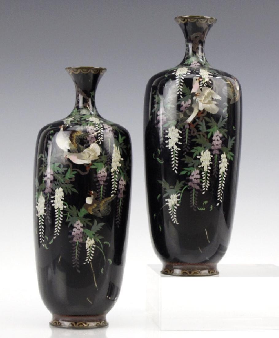 PAIR of Japanese Cloisonne Enamel Vase FINE