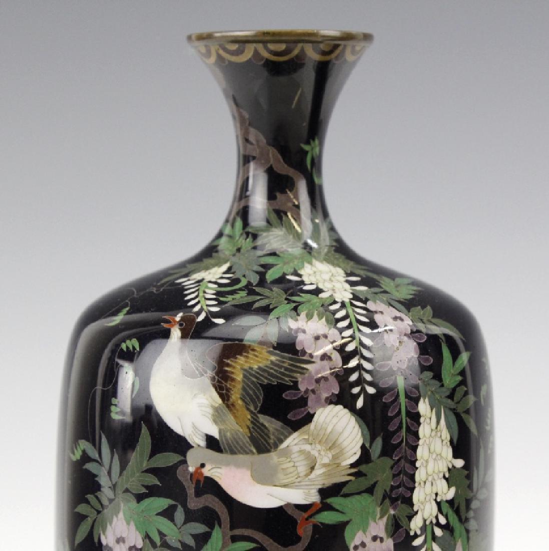 PAIR of Japanese Cloisonne Enamel Vase FINE - 4