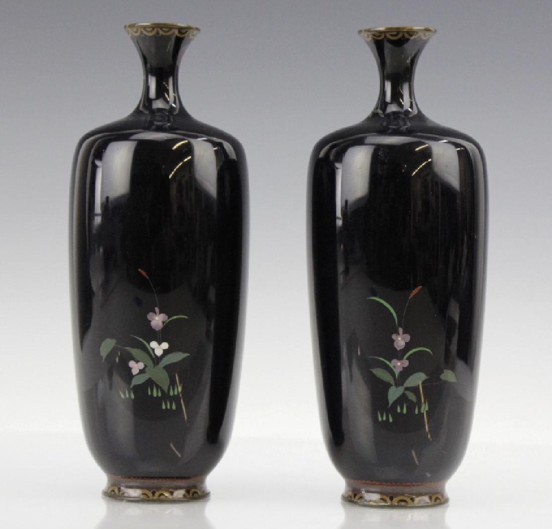 PAIR of Japanese Cloisonne Enamel Vase FINE - 6