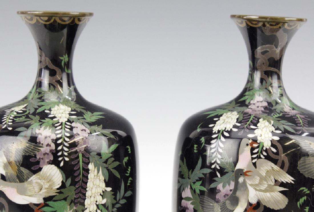 PAIR of Japanese Cloisonne Enamel Vase FINE - 8